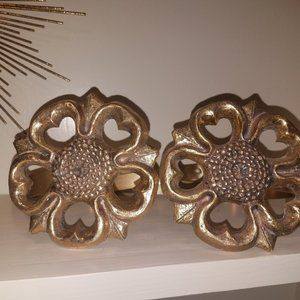 Vintage Brass Floral Curtain Tie Back Pair